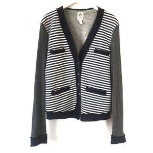 Tiny Navy Gray White Striped Button Knit Cardigan